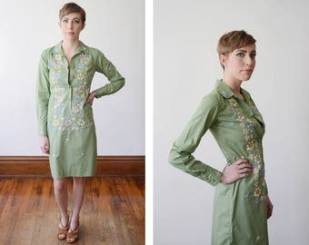 1960s Embroidered Green Floral Shirt Dress - XXS/XS