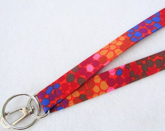 Ombre Dots Kaffe Fassett Fabric Lanyard Breakaway Lanyard Designer ID Badge Holder Clip Key Ring Fob Red Orange Gold Pink Blue Spots MTO