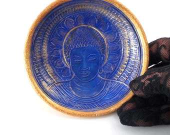 BUDDHA  Raku Pottery Bowl in Royal blue Medicine Buddha