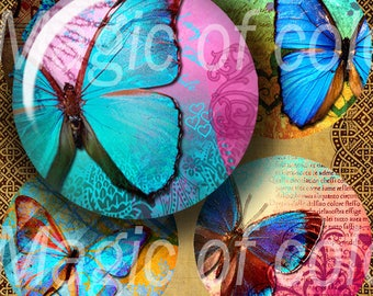 Digital Collage of  Bright Blue  Butterfly Illustration - 63  1 Inch Circle JPG images - Digital  Collage Sheet