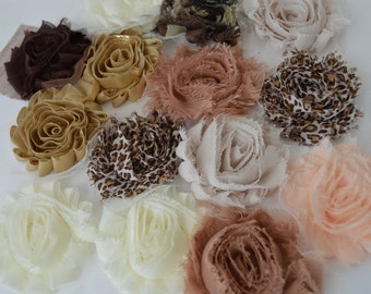 Shabby Fabric Flowers - Set of 14 as seen here - Neutral Colors - Destash - 2 1/2 inch (approx)