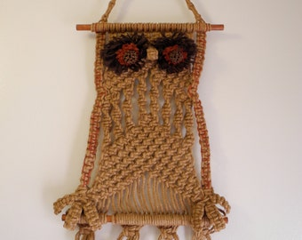 Macrame 60s 70s hippie wall owl rope art decor
