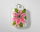 Listing for Kylie- Ink Art Lilly Pendant-original ink art-handcrafted