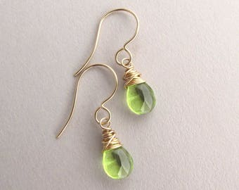 Peridot earrings, Petite gold peridot drop earrings, August birthstone earrings, gemstone earring, dainty dangle earrings