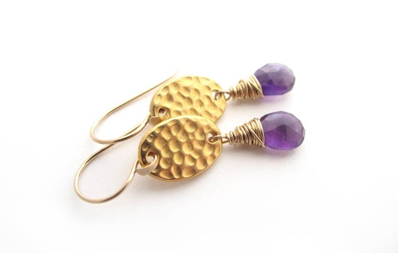Gold Amethyst Drop Earrings, February Birthstone Earrings, Amethyst Earrings, Amethyst Gold Earrings, Gold Amethyst Earrings