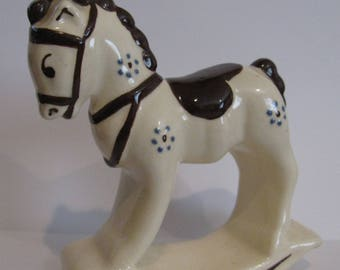 Vintage Larger Sized california art Pottery ROCKING HORSE Rio Hondo Style