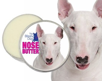 Bull Terrier ORIGINAL NOSE BUTTER® Handcrafted Salve for Dry Crusty Dog Noses Choice 3 Sizes Tins, 1, 2 or 4 oz with Bull Terrier Label