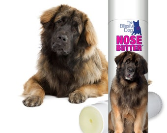 Leonberger Dog ORIGINAL NOSE BUTTER® All Natural Handcrafted Moisturizing Balm for Dry Crusty Noses .50 oz Tube with Leonberger Label