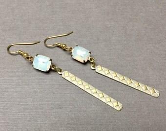 Brass Paddle Rhinestone Earrings. White. Gold. Long Drop Earrings. Dangle Earrings. Handmade Jewelry.