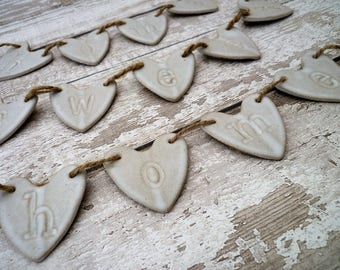 Hand made ceramic bunting, Home sweet Home, ceramic loveheart hanger, home decor