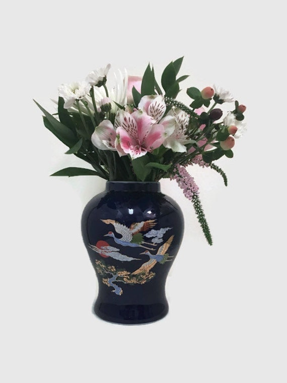 Cobalt Blue Asian Vase with Cranes - Chinoiserie - Small, Vintage
