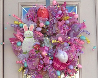Easter  Basket Wreath with Bunny and Easter Eggs, Easter Wreath,Easter Bunny and Eggs Wreath,DecoMesh Easter Wreath,Wreath for Easter