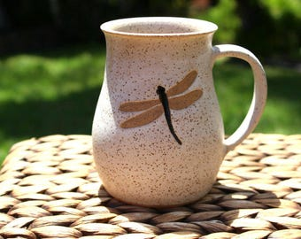 Ceramic DRAGONFLY Coffee Mug - Handmade Speckled Oatmeal Stoneware Dragonfly Mug - Ready To Ship