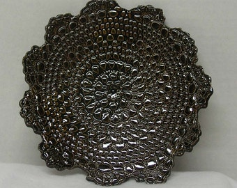 Rich Sparkling Brown Porcelain Doily Impressed Plate