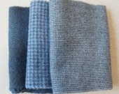 Grey-Blue Tones Hand Dyed Felted Wool Fabric - Hand Dyed - - 100% Wool