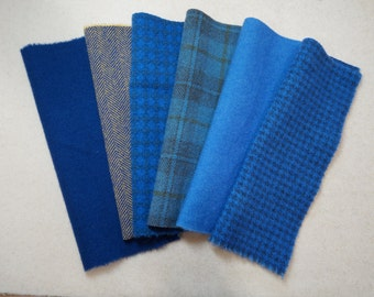 Blue Hand Dyed Felted Wool Fabric Bundle Perfect for Quilting, Sewing, Wool Applique, Rug Hooking