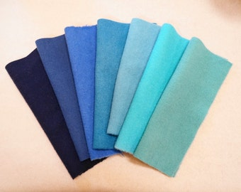 Teal - Turquoise - Blue - Hand Dyed Felted Wool Fabrics Perfect for Rug Hooking and Applique Select a Size