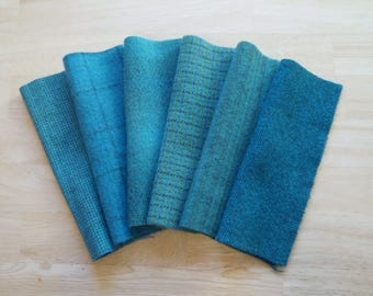 Muted Blue - Cyan Hand Dyed Felted Wool in a Beautiful Collection  Perfect Rug Hooking and Applique Wool Number 5047B