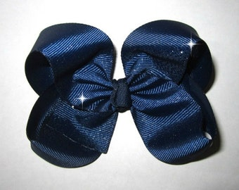 Blue Denim Sparkle Hair Bow Chunky Boutique Sassy Simple and Sweet Hairbow Glitter Jeans Large Big Classy Loops