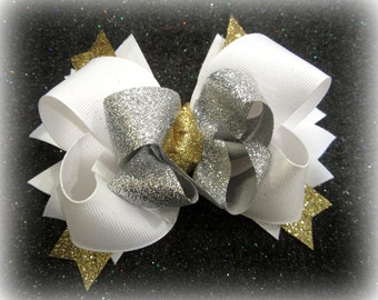 Glitter Hair Bow, Gold Hairbow, Silver hair bows, Gold and Silver Bows, Boutique Hair Bow, Shimmer Hairbow, Girls Glitter Bow, Big Gold Bow