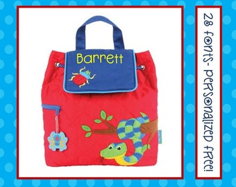 28 Fonts- Toddler Boy's SNAKE BUGS Spider Red Quilted Personalized Backpack- Monogrammed Free Preschool Book Bag 36 Fonts