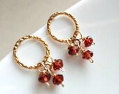 Garnet Earrings , Garnet Dangle Post Earrings , Circle Studs , Gold Post Earrings , January Birthstone , Gift for Her