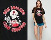 Football Shirt NEW ENGLAND PATRIOTS TShirt Clam Chowder 80s American Football T Shirt Retro Tee 1980s Sports Vintage Graphic Black Medium