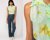 Floral Blouse 70s Boho Crop Top Button Up Shirt Bohemian Sleeveless 1970s Vintage Boho Hippie Romantic Green Yellow Medium