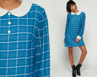 Peter Pan Dress 60s Mod Mini COLLAR Blue Plaid Print 1960s Lolita Vintage Sixties Shift Long Sleeve Button Up Dolly Twiggy Medium