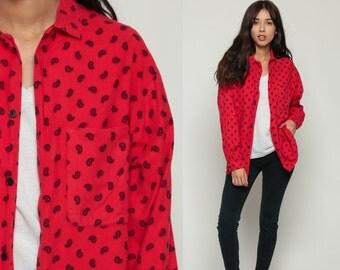 Paisley Shirt 80s Button Up Shirt Print Blouse Long Sleeve Top Grunge Boho Red 1980s Vintage Bohemian Medium