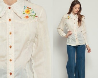 Floral Blouse EMBROIDERED Top Western Button Up Shirt 70s Disco Hippie Boho Vintage 1970s Bohemian Long Sleeve Beige Medium