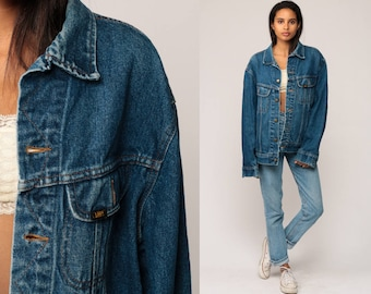 Oversized Denim Jacket 80s Jean Jacket LEE Denim Jacket Blue Stone Wash 1980s Vintage Biker Button Up Trucker Hipster Extra Large xl