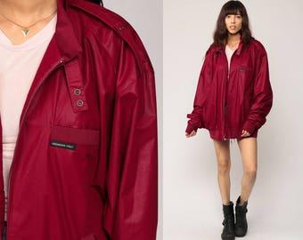 Members Only Jacket 80s Bomber Windbreaker Cafe Racer Moto Hipster Epaulette Coat Vintage 1980s Burgundy Red Lightweight Extra Large xl xxl