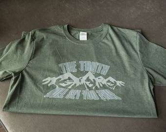 The truth will set you free- mens army green christian t shirt