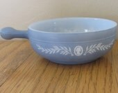 Vintage Glasbake Blue Cameo Soup Dish Ovenproof Baking Dish with Handle