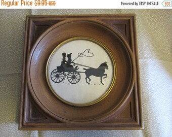 SALE- Vintage Silhouette/Horse and Buggy/Black and White/Framed with Glass/1950s