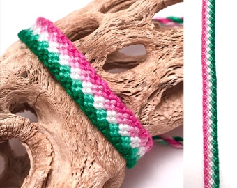 Friendship bracelet - thread - embroidery floss - woven - knotted - pink - green - white - watermelon - string - macrame - knotted - stripes