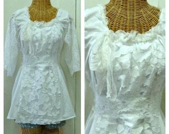 White Lace Blouse Top Size Medium, Large Silk Edged Neckline With Lace Sash Mesh Applique Panel