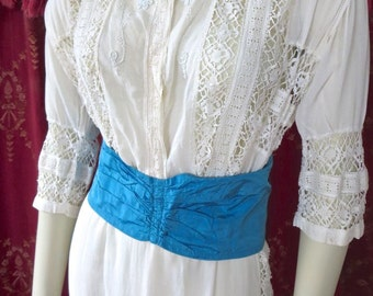 Antique 1900s Edwardian Sheer White Lawn Dress Lace & Beading Details 36 Bust