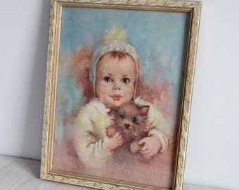 Framed vintage Florence Kroger Boy or Girl print - Child with dog, gender neutral, nursery decor