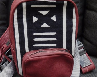 African Print Mini-Backpack in Oxblood Leather