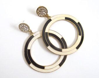 Vintage Oversized Statement Rhinestone Enamel Hoops Earrings