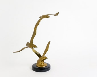 Vintage 1960s 70s Sculpture / Birds in Flight Brass and Marble Figure / Mid Century Home Decor