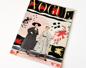 Vintage Vogue Magazine April 1949 / 40s Beauty Fashion Art Home Decor / Missing Some Pages