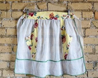 Shop Sale Vintage 1960s Hostess Apron / 60s Half Apron / Yellow Cotton Floral Print and White Organza