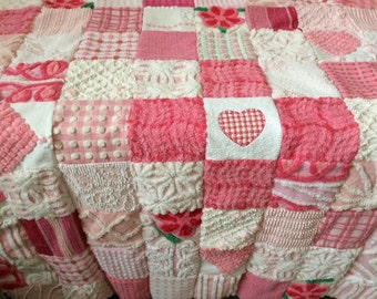 """Custom Order Example - """"Cross My Heart"""" in Pink Vintage Cotton Chenille Patchwork Quilt"""