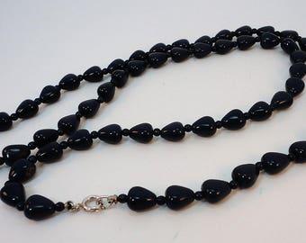 60s navy glass heart shaped beads opera necklace