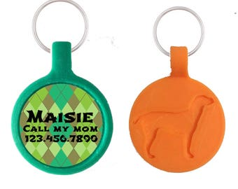 Green Argyle Silver Custom Personalized Dog ID Pet Tag Custom Pet Tag You Choose Tag Size & Colors