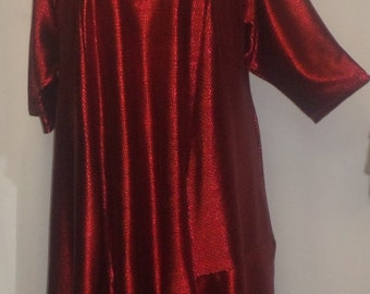 Plus Size Tunic, Coco and Juan, Plus Size Asymmetric Tunic Top, Red Shimmer Poly Knit Size 2 (fits 3X,4X)   Bust 60 inches