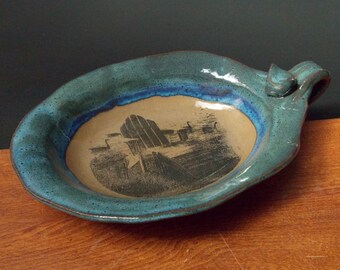 Stoneware Oval Bowl Plate With Handle ~Adirondack Chair Design ~